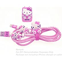 Tospania DIY Wire Protector FOR iPhone 4 5 5S SE 6 6S 7 8 Plus X IPad iPod iWatch Lightning Cable and USB Charger (Pink Hello Kitty)