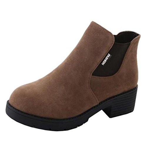 Boots Heel Elastic Style on British Women's Khaki Binying Round Toe Block Slip Chelsea X0aPnqw