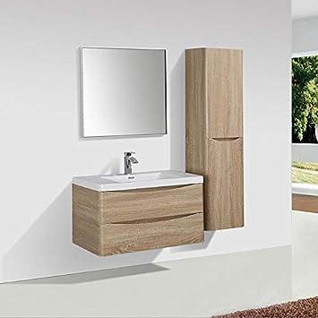 Meuble Salle De Bain Design Simple Vasque Piacenza Largeur 90 Cm, Chêne  Clair