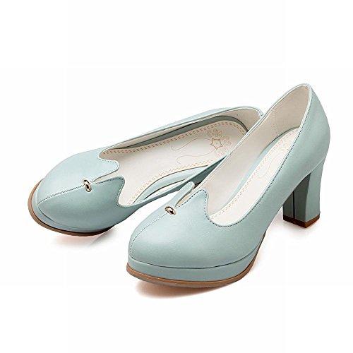 Mee Shoes Damen modern süß bequem dicker Absatz runder toe Geschlossen Plateau Pumps Blau