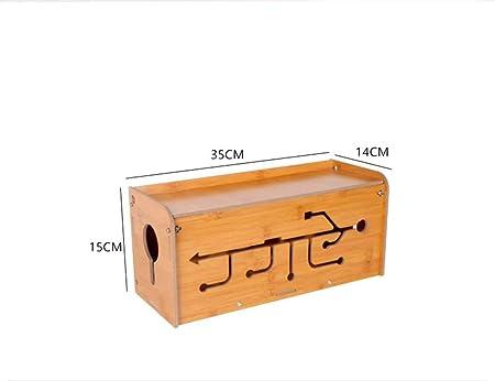 Gestión de la caja de cable de madera, tapa del contenedor de almacenamiento de escritorio, unidad de organización del arnés de cableado, concentrador USB, caja de expansión de gestión de cable ,Brown: