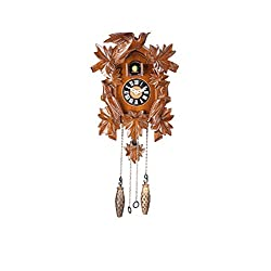 8.3-inch Mini Forester Bird Family Art Cuckoo Clock, Home Decor, Birdhouse Design - C00178