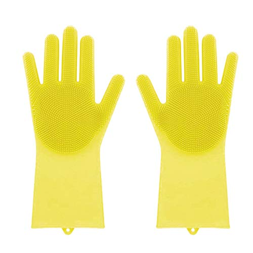 Marsoul Silicone Gloves, Magic Saksak Silicone Gloves Wash ScrubberHeat Resistant Reusable Brush Silicone Dish Scrubber for Cleaning, Household, Dish Washing, Washing the Car, Pet Hair Care (Yellow)