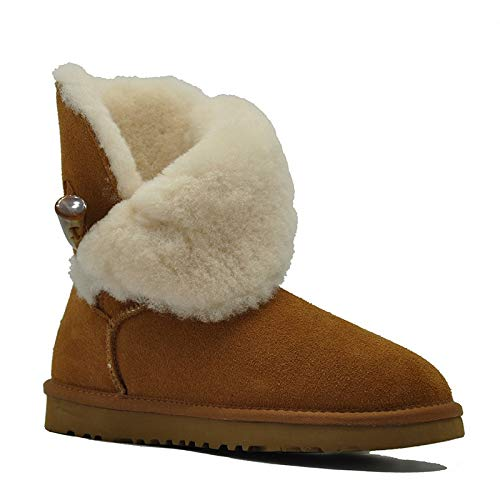 Chestnut Fumak Lady shoes Waterproof Genuine Leather Snow Boots Natural Fur Winter Boots Warm Classic Women Boots