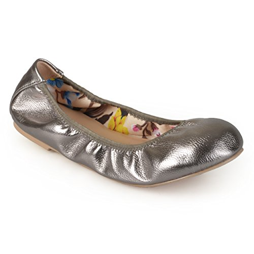 Journee Collection Mujeres Flexible Scrunch Ballet Flats Peltre