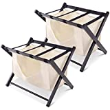 Tangkula Luggage Rack Folding Wood Suitcase Luggage Stand for Home Bedroom Guestroom Hotel Rooms with Hamper Laundry Cloth Bag (Red Brown 2PC)