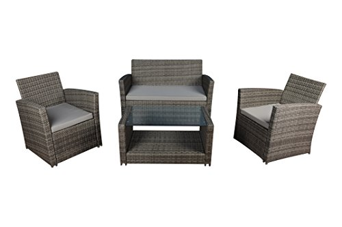 Modern Outdoor Garden, Patio 4 Piece Set – Wicker Sofa Furniture Set (Grey/Grey)