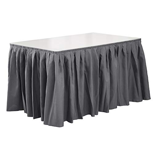 Deconovo Decorative Table Skirt with Fastening Tape Spillproof Oxford 14ft Pleat Table Skirt for Party Tablecloth Decoration Light Grey 1 Piece