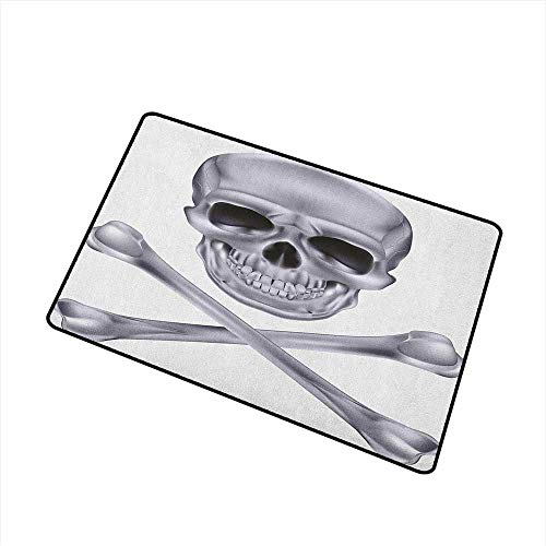 Wang Hai Chuan Grey Front Door mat Carpet Vivid Skull and Crossed Bones Dangerous Scary Dead Skeleton Evil Face Halloween Theme Machine Washable Door mat W19.7 x L31.5 Inch Dimgray]()