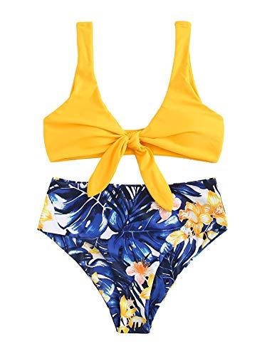 SweatyRocks Women's Bikini Tie Knot Front Blue Floral Print Swimsuit High Waist Swimwear Set