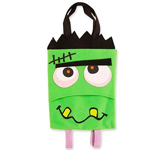 Halloween Trick or Treat Bag Kids Toddler with Backpack Straps (Frankenstein Monster Design Bags, Bonus Halloween Party (Halloween Preschool Treats Make)