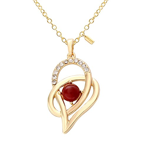 MANZHEN 10K Gold Crystal Pearl Imitation Forever Love Interlocking Heart Charm Necklace for Women ()