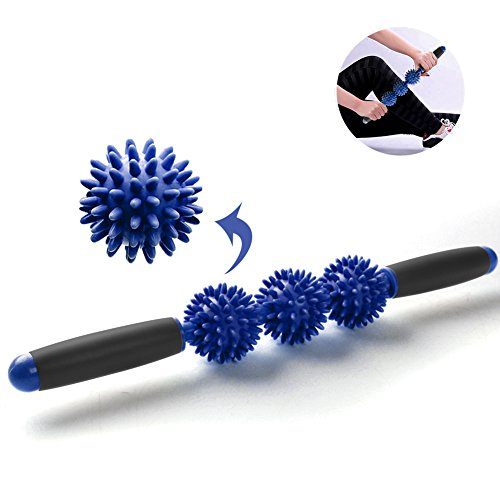 Myofascial Release Roller Balls for Muscle Pain Relief Tool,Cellulite Massager Removal Trigger Point Massage Stick (Blue)