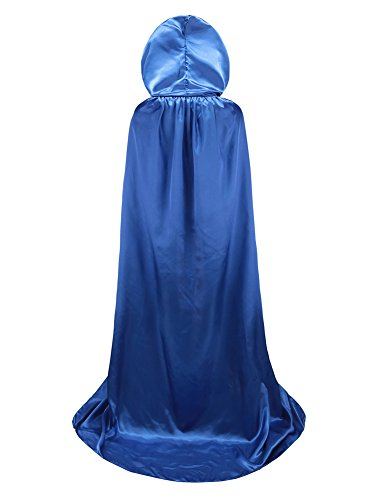 TULIPTREND Full Length Hooded Cloak Christmas Halloween Cosplay Costume CapeUS M (tag size L (L=150cm Blue -