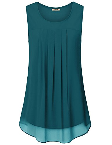 Timeson Tunic Shirts for Women to Wear with Leggings, Woman Comfy Chiffon Tunic Tops Vintage Scoop Neck Double Layers Pleated Front A Line Flowy Sleeveless Blouses for Work Deep Cyan X-Large