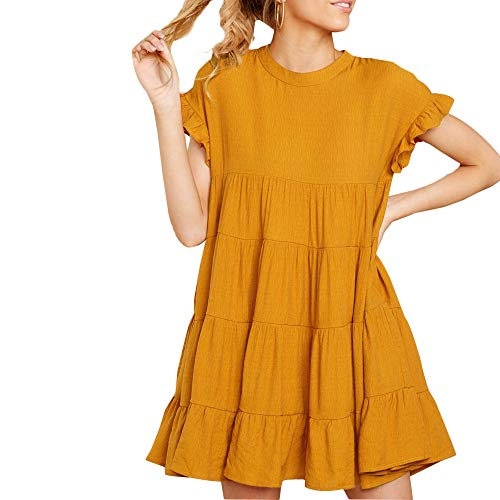 Joteisy Women's O Neck Ruffle Short Sleeve Tiered Casual Mini Dress (M, Yellow) ()