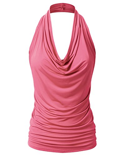 EIMIN Women's Casual Halter Neck Draped Front Sexy Backless Tank Top Coral 1XL