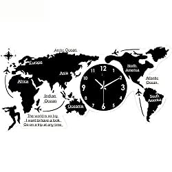 MGE UPS Systems Clock Wall Clock,Nordic Minimalist Style Wall Clock World Map, Silent Quartz Wall Decor Acrylic Clock