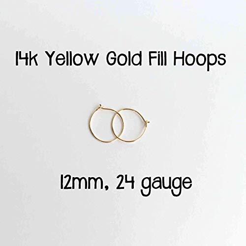 Sensitive Ears Earrings 14k Yellow Gold Fill Hoops 12mm, 24 gauge