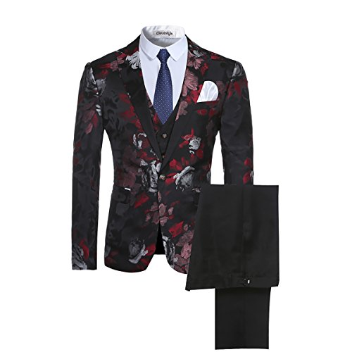 Men's 3-Piece Suit Notched Lapel Floral One Button Modern Blazer Vest Pants Sets ()