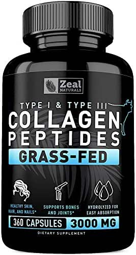 Pure Collagen Peptides Collagen Pills (360 Capsules) 100% Grass Fed Collagen Protein Powder - Hydrolyzed Collagen Powder for Joint and Tendon Supplement & Hair Skin and Nails - Colageno Hidrolizado