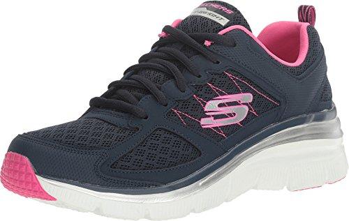 Skechers Women's Fashion Fit Not Afraid Sneaker,Navy/Hot Pink,US 9 M (Hot Navy Women)
