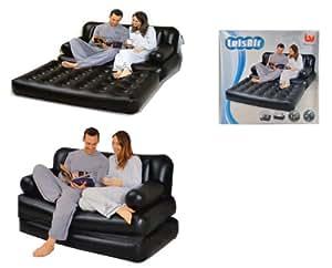 BESTWAY LEISAIR - Sofá y cama hinchables (5 en 1, incluye bomba de aire), color negro