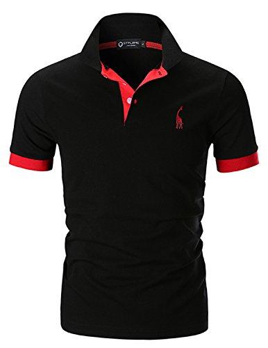 STTLZMC Men's Polo Shirts Short Sleeve Cotton Tee Button Basic Sports T-Shirts,Black,Small
