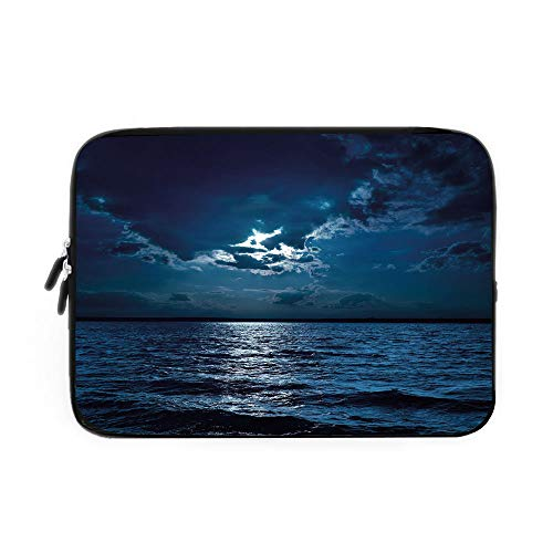 Night Laptop Sleeve Bag,Neoprene Sleeve Case/Majestic Dramatic Sky Clouds and Full Moon Over Seascape Calm Tranquil Ocean/for Apple MacBook Air Samsung Google Acer HP DELL Lenovo AsusDark Blu