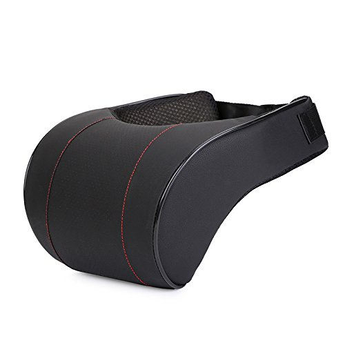 AUTOYOUTH Car Headrest Neck Pillow PU Leather Auto Car Neck Rest Cushion Thick Memory Foam Neck Support for Car Seat Headrest 1PC
