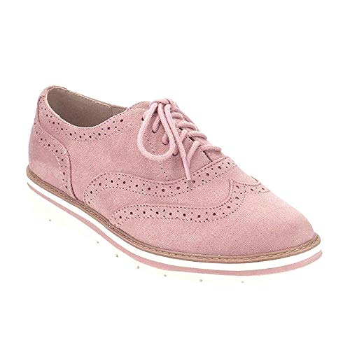 (VANDIMI Womens Lace Up Loafers Perforated Oxfords Shoes Casual Platform Wingtip Brogue Sneakers)