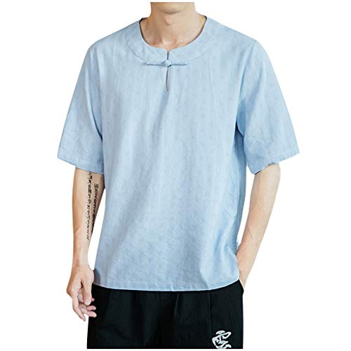 GDJGTA Tops for Mens Summer Short Sleeve Vintage Stripe Linen Patchwork T-Shirt Comfort Tops Light Blue