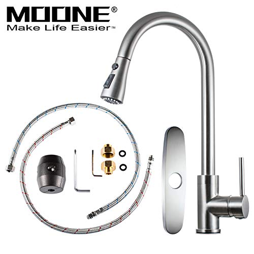 Moone Commercial Single Handle Kitchen Faucet Pull Down Sprayer Brass Body Pull Out Spray Kitchen Sink Faucets Stainless Steel Brushed Nickel by Moone (Image #1)