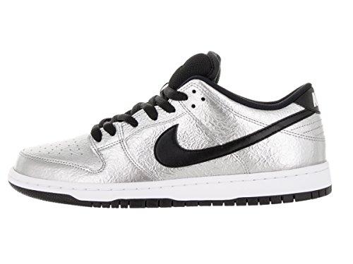 Nike Mens Dunk Low Premium Sneaker Alta Moda In Pelle Alla Caviglia Metallizzato Argento / Bianco // Nero