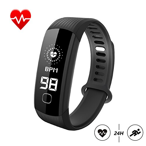 Fitness Tracker, Smart Bracelet Wristband with Real Time Heart Rate Monitor Activity Tracker Stopwatch Pedometer Sleep Monitor Call and SMS Reminder Calorie Burned Counter for IOS Android (Black) (Basic Activity)