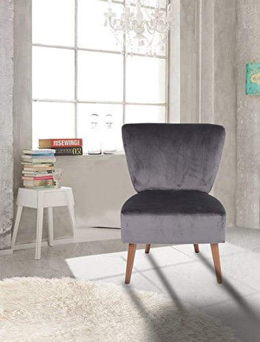 Charcoal Velvet Accent Chair Lounge Living Bedroom Room with Wood legs