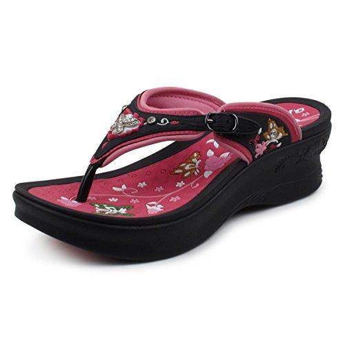 Black Comfort GP5830 5830w Butterfly Flip Pump Women Weight Flop Light Platform Walking Fuchsia qXBvqn
