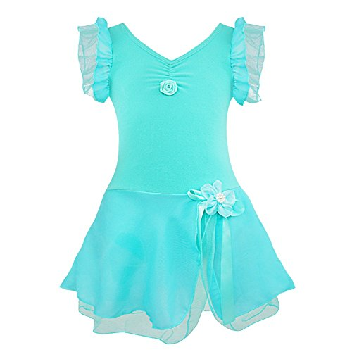 Alvivi Girls' Fairy Ruffle Short Sleeve Gymnastic Dance Leotards with Tutu Skirt Costume Dresses Turquoise 5-6