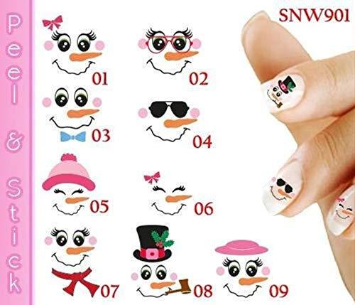 Snowman Family Nail Art Decal Sticker Set