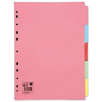 5 Star 913314 - Paquete de 50 separadores A4 para archivadores, surtidos: Amazon.es: Oficina y papelería