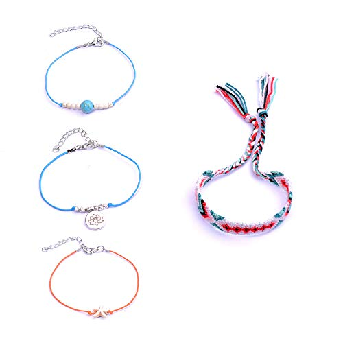 JSTR 4PCs Starfish Lotus Anklet Set Boho Cotton Line Weave Friendship Beach Rope Bracelet for Women Teen Girls Hair Tie Handmade Foot Chain Jewelry (3)
