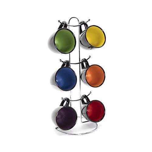 Gypsy Color 3 OZ. Espresso Hanging Coffee Mug Set with Metal Tree, Black Multicolor Hand Glazed Ceramic Stoneware (Tree Espresso Mug)