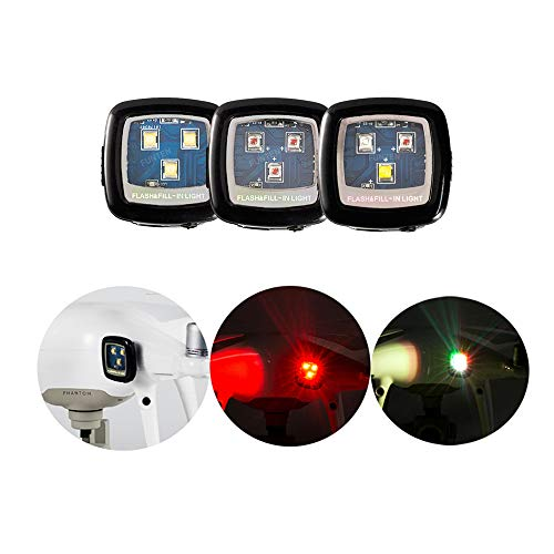 3PCS FUNTEN CREE Strobe Light Drone Night Flights Strobe Spotlight Quadcopter for DJI Spark Inspire 1 2 Phantom Mavic Pro Typhoon H Yuneec Matrice Navigation Rechargable – White+Red+Multi Color