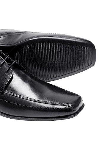 next Hombres Con Cordones Oficial Formal Zapatos De Vestir De Piel Con Puntera Cuadrada Negro
