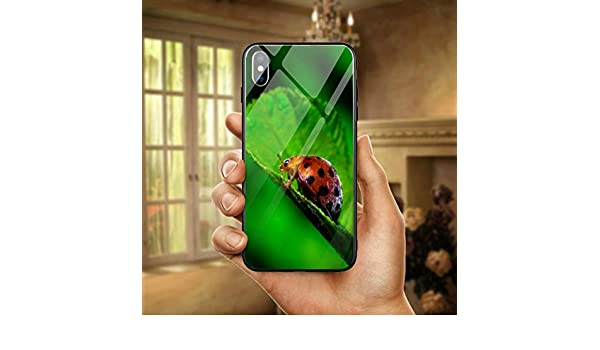 HANSHUOLovely Red Lady Bug Funda de teléfono móvil de Vidrio ...