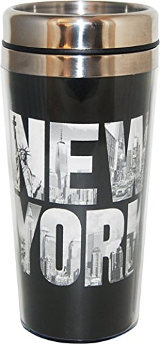 New York Black and White Designed Large Travel Mug- Perfect souvenir Travel mug for Iced Coffee in Summer and a Hot beverage in winter