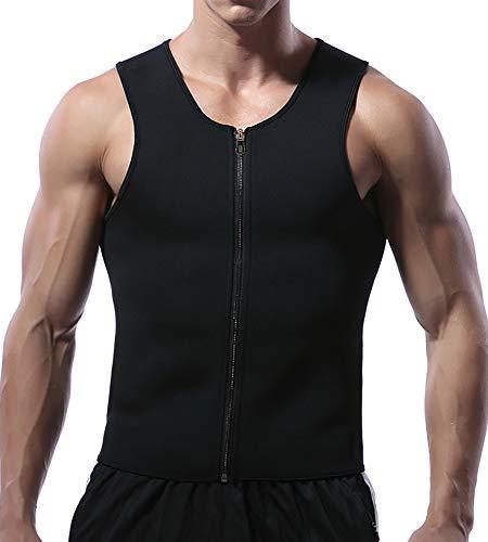 Mlxgoie Men Waist Trainer Vest for Weightloss Hot Neoprene Corset Body Shaper Zipper Sauna Sweat Tank Top Workout Shirt (Black, X-Large)