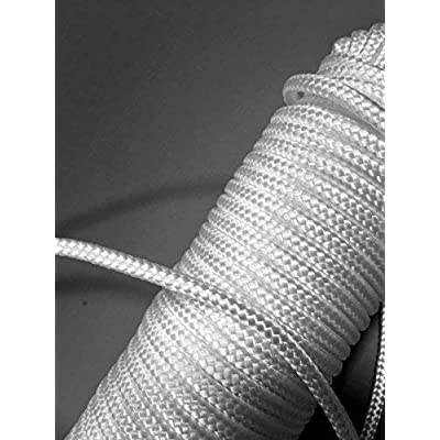 1 ALAZCO 80 ft. Extra Strong Diamond Braid Polypropylene Multi-Purpose Flag Line Rope - Weather Resistant Shock Absorbent Heavy Duty Poly 3/16'' Thick (1 Rope Only)