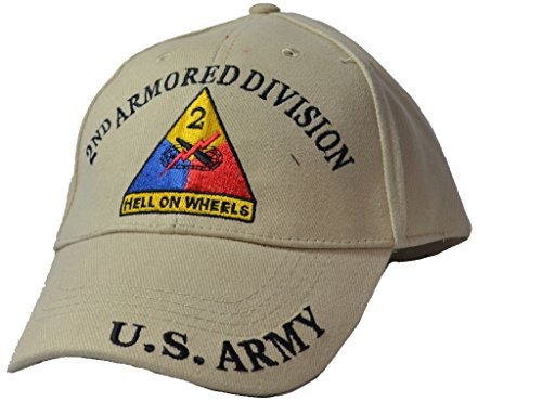 - Eagle Emblems Mens 2nd Armored Division Tan Embroidered Ball Cap Adjustable Tan