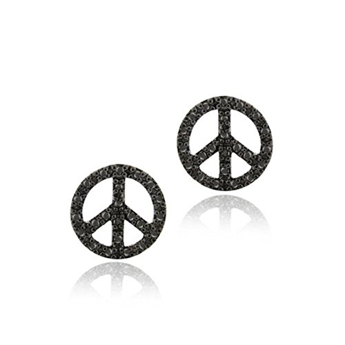 Sterling Silver Black Simulated Diamond Accent Circle Peace Sign Earrings (Diamond Circle Drop Earrings)
